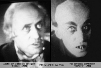 "Alastair Sim as Ebenezer Scrooge in ""Scrooge"" (1951) Totally Looks Like Max Schreck as Graf Orlok in ""Nosferatu"" (1922)"