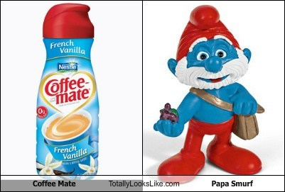 Coffee Mate  Totally Looks Like Papa Smurf