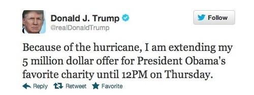 hurricane,donald trump,attention whore,generous,tweet,stupid,offer