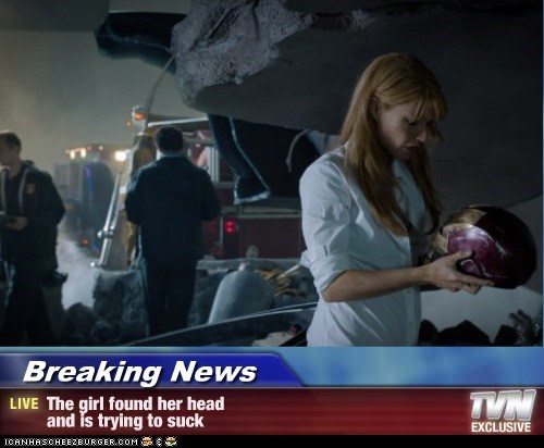 Breaking News - The girl found her head and is trying to suck