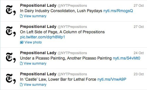 Parody Twitter Account of the Day: @NYTPreposition