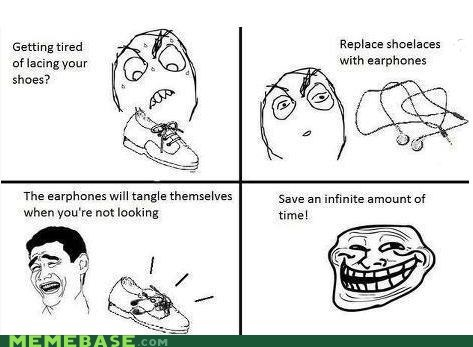 shoe laces,earphones,troll science