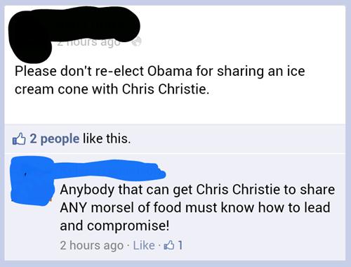 Chris Christie,obama,ice cream,ice cream cone,hurricane sandy,bipartisanship