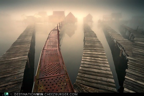 mysterious,pier,mist,boardwalk