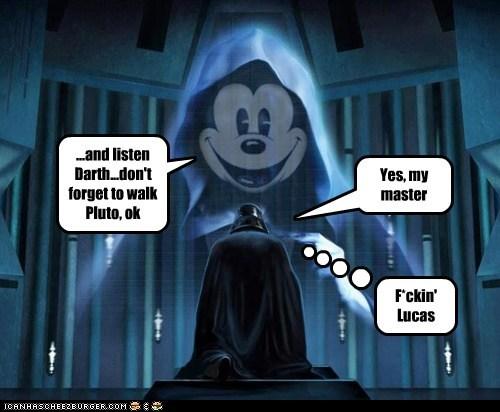 george lucas,disney,pluto,master,star wars,mickey mouse,darth vader