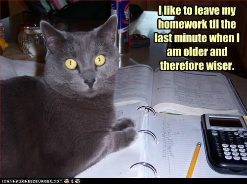 I like to leave my homework til the last minute