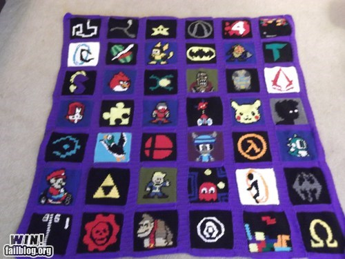 Crochet Gamer Blanket WIN