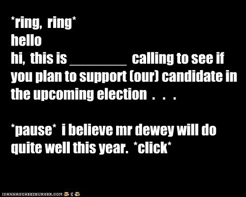 *ring,  ring* hello hi,  this is _______  calling to see if you plan to support (our) candidate in the upcoming election  .   .   .  *pause*  i believe mr dewey will do quite well this year.  *click*