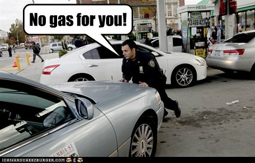 news,gas,pushing,line,cop,No Soup For You,New Jersey