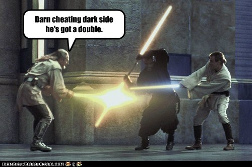 darth maul,double,obi-wan kenobi,liam neeson,qui-gon jinn,star wars,lightsabers,ewan mcgregor,cheating