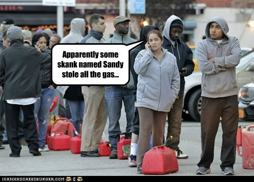 gas,skank,cell phone,line,stole,new york,hurricane sandy