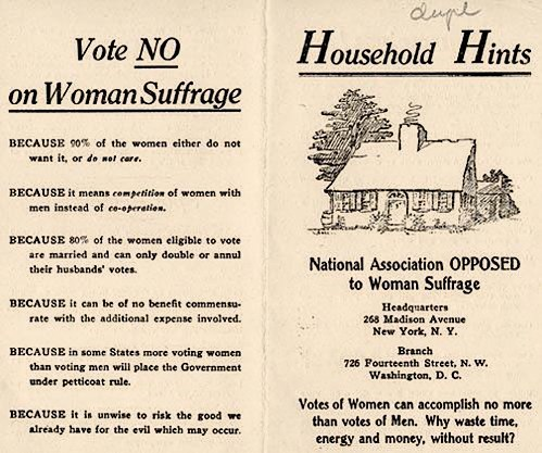 Past Politics: More Reasons to Vote Against Women's Suffrage