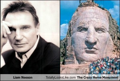 Liam Neeson Totally Looks Like The Crazy Horse Monument