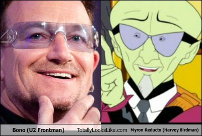 Bono (U2 Frontman) Totally Looks Like Myron Reducto (Harvey Birdman)