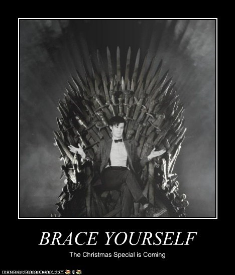 the iron throne,brace yourself,christmas special,Game of Thrones,the doctor,Matt Smith,doctor who
