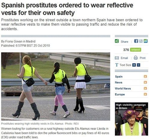 reflective vests,Spain,safety first,prostitutes