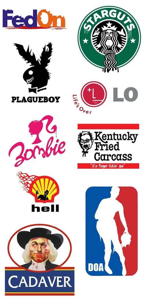 ben fellowes,quaker,life's over,fed on,Barbie,company logos,plagueboy,kfc,zombie,shell,starguts,zombie logos