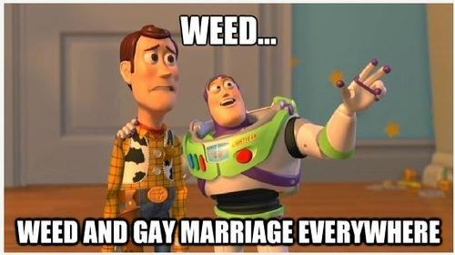woody,toy story,gay marriage,everywhere,buzz lightyear,celebrating,weed