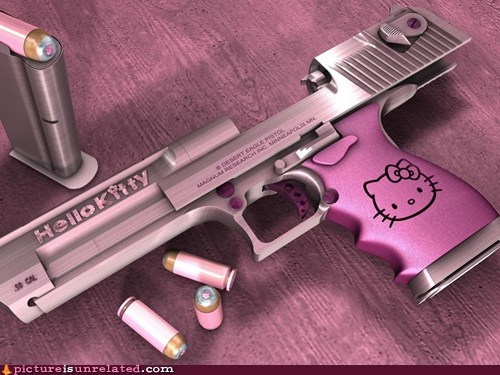 hello kitty,gun