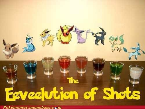 drinks,shots,evolution,eevee,eeveelution