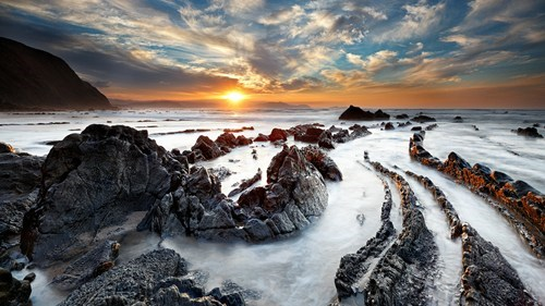 rocks,waves,Spain,beach,landscape,fog,sunset