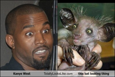 Kanye West Totally Looks Like this bat looking thing