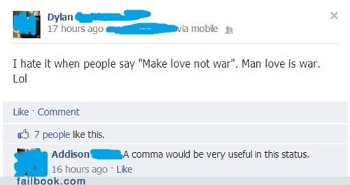 make love not war,man love,comma