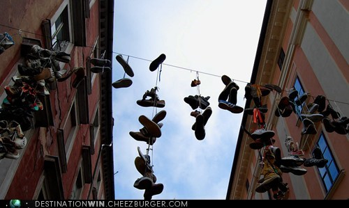 Shoes Hanging in the Old Town of Ljubljana, Slovenia
