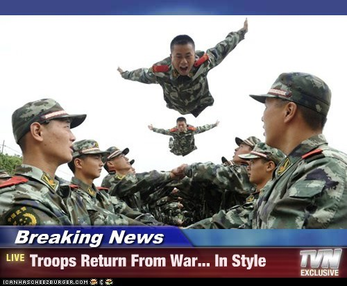 Breaking News - Troops Return From War... In Style