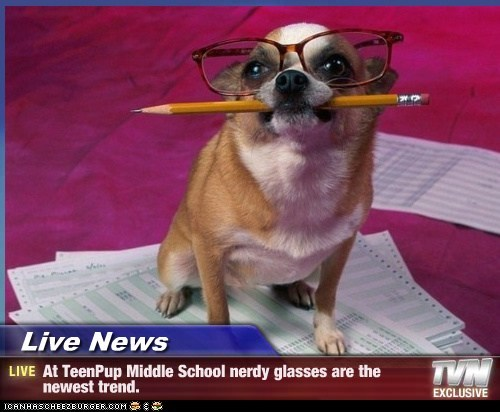 Live News - At TeenPup Middle School nerdy glasses are the newest trend.