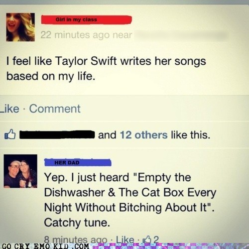 taylor swift,facebook,dad,chores