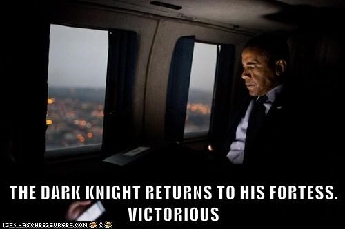 THE DARK KNIGHT RETURNS TO HIS FORTESS. VICTORIOUS