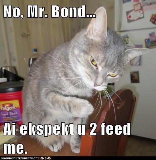 No, Mr. Bond...  Ai ekspekt u 2 feed me.