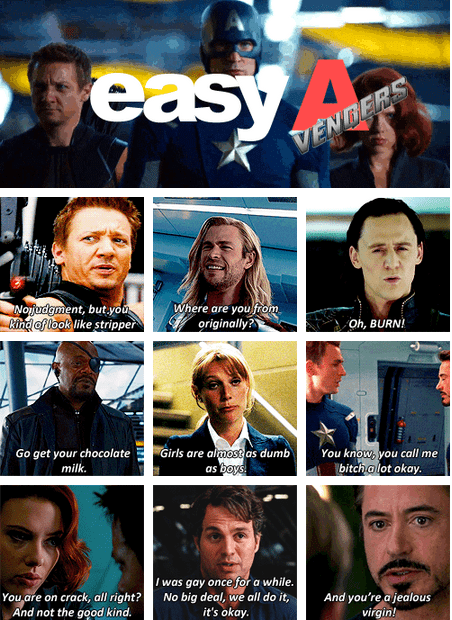 gwyneth paltrow,tom hiddleston,robert downey jr,Movie,actor,The Avengers,Samuel L Jackson,Jeremy renner,celeb,chris evans,easy a,chris hemsworth,funny