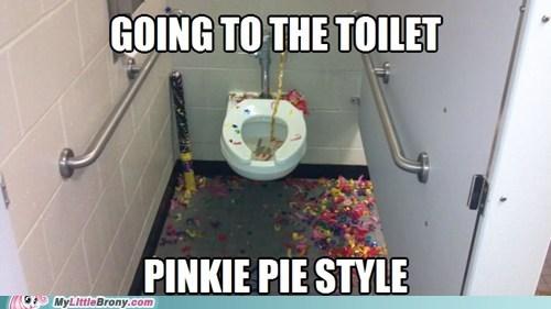 pinkie pie,bathroom,confetti,Party