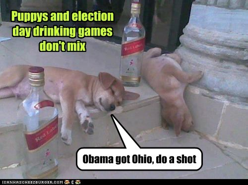 Puppys and election day drinking games don't mix