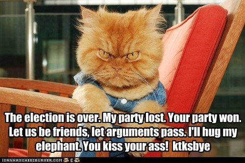 The election is over. My party lost. Your party won. Let us be friends, let arguments pass. I'll hug my elephant. You kiss your ass!  ktksbye