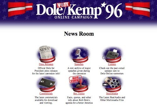 Bob Dole's Campaign Website from 1996 Still Exists
