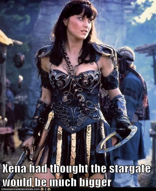 disappointed,Xena,chakra,bigger,Lucy Lawless,small,Xena Warrior Princess,Stargate
