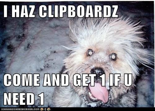 I HAZ CLIPBOARDZ  COME AND GET 1 IF U NEED 1
