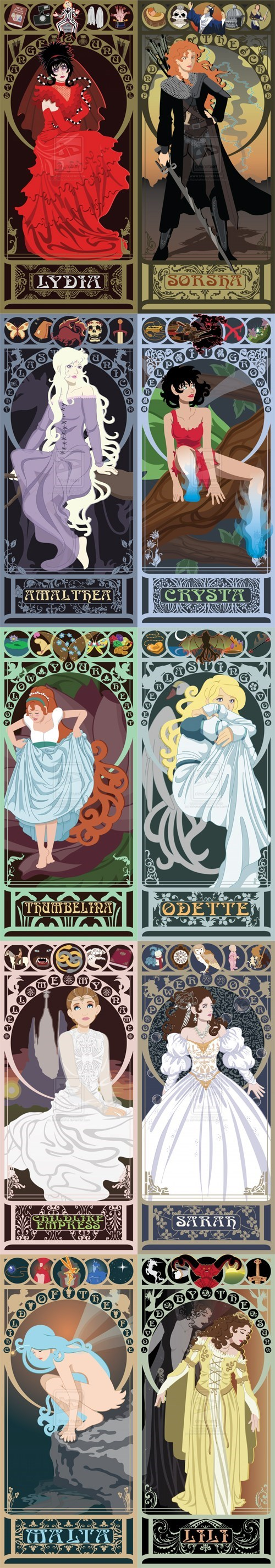 sarah,Amalthea,fantasy,the swan princess,odette,Malta,beetlejuice,Childlike Empress,nostalgia,fan art,legend,lili,Sea Prince and the Fire Child,thumbelina,heroines,art nouveau,Crysta,The Last Unicorn,lydia,FernGully-The-Last-Rainforest,neverending story,willow,labyrinth,Sorsha