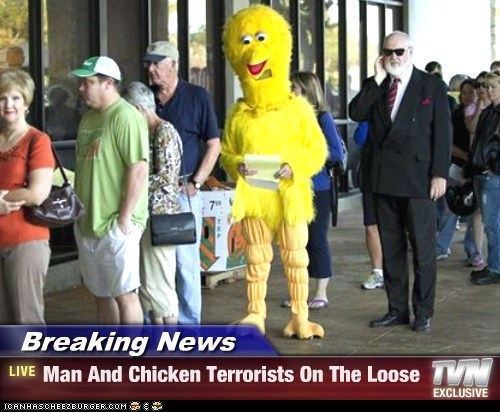 Breaking News - Man And Chicken Terrorists On The Loose