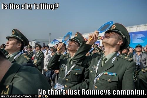 Is the sky falling?  No that's just Romneys campaign.