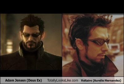 Adam Jensen (Deus Ex) Totally Looks Like Voltaire (Aurelio Hernandez)