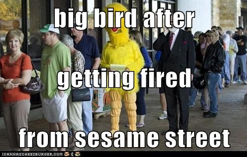 big bird after getting fired from sesame street