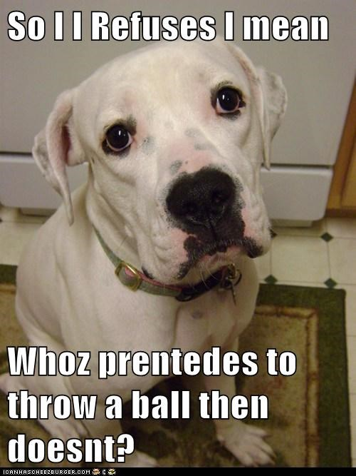 So I I Refuses I mean  Whoz prentedes to throw a ball then doesnt?