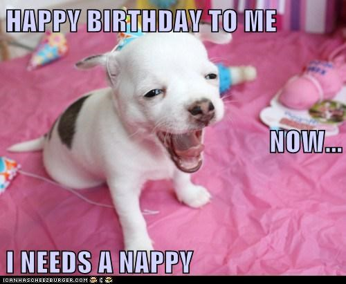 HAPPY BIRTHDAY TO ME NOW... I NEEDS A NAPPY