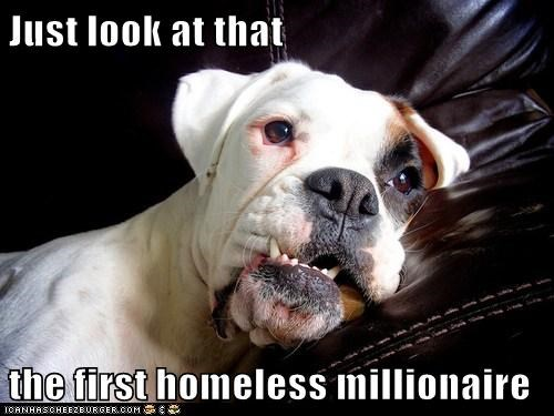 Just look at that  the first homeless millionaire