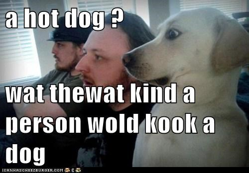 a hot dog ?  wat thewat kind a person wold kook a dog