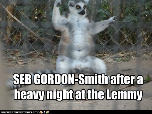 SEB GORDON-Smith after a heavy night at the Lemmy